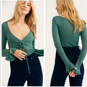 Intimately Free People Green Bell Sleeve T…